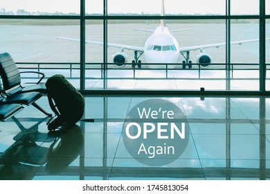 We are open again. Sign at the airport luggage on the chair in waiting lounge