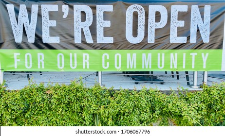 We Are Open Sign Restaurant Take Out Banner during Coronavirus Shelter in Place