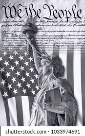 We the People with American flag and Statue of Liberty in black and white.
