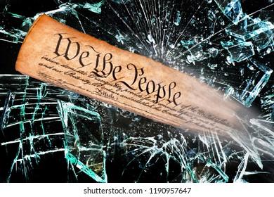 We the people breaking through the broken glass.