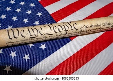 we the people constitutional law usa american 4th july detail on star and stripes flag background