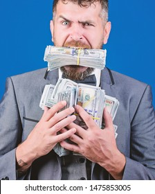 We are rich. Billioner with dollar banknotes. happy bearded man has a lot of money. businessman after great deal. Finance and commerce. Business and sport success. winning a lottery.