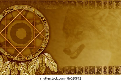 We see illustration of a Native American dreamcatcher