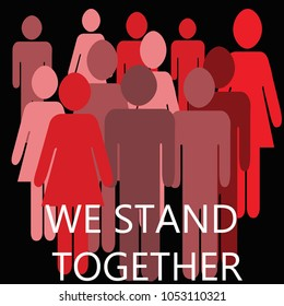 we stand together images pink red and mauve illustration