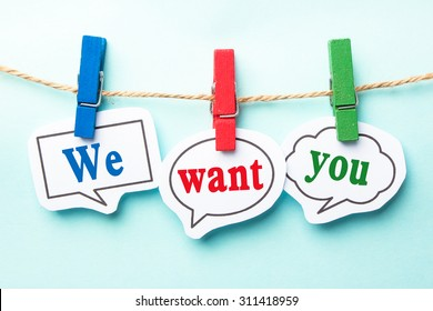 We want you concept paper speech bubbles with line on the light blue background.