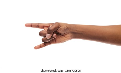 We will rock you. Black female hand making rock'n'roll gesture isolated on white background, panorama with copy space