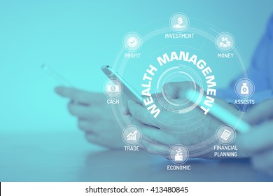 WEALTH MANAGEMENT CONCEPT with Icons and Keywords