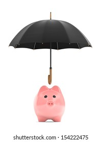 Wealth protection concept. Piggy Bank under umbrella on a white background