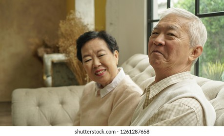 Wealthy Asian elderly couple happy hugging in luxury house