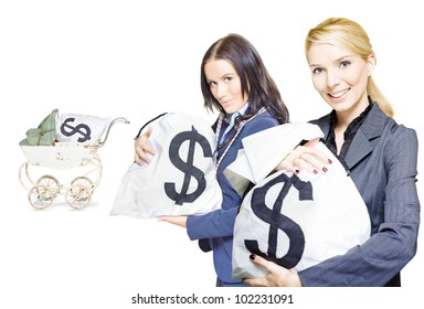 Wealthy young business women holding money bags with a baby pram in background to represent investment nurturing, financial planning and business development