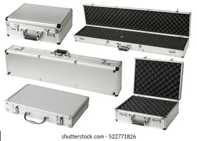 weapon cases on the isolated white background