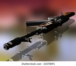The weapon on a mirror surface