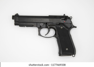 Weapon series. Modern U.S. Army handgun M9 close-up. Isolated on a white background.