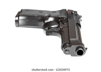 Weapon series. Modern U.S. Army M9 pistol close-up. Isolated on a white background. Shallow DOF.