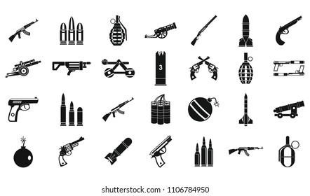Weapons ammunition icon set. Simple set of weapons ammunition icons for web design isolated on white background