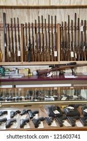 Weapons displayed in gun shop