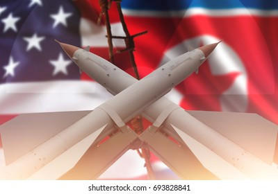 Weapons of mass destruction. Missiles with warheads, stand in a row, ready to launch. Nuclear weapons, chemical weapons. War. Flag of United States of America and North Korea