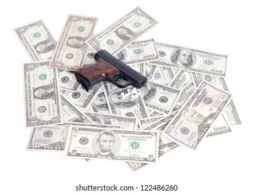 weapons and money and drugs isolated on white background