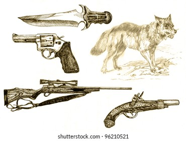 Weapons which led to the extinction of the wolf in the mountains and forests in Central Europe