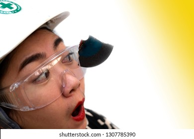 Wear safety glasses saved this engineer women is eye while work because plug in cutting discs broken, Safety first, Dangers of using power tools