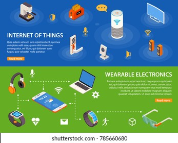 Wearable electronic devices and internet of things  iot 2 isometric infographic banners webpage design isolated  illustration
