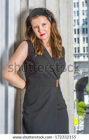 44a03fb4cf2 Wearing Black Sleeveless Trench Coat Dress Stock Photo (Edit Now ...