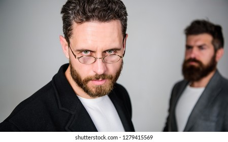 Wearing glasses may really mean you are smarter. Man handsome bearded mature guy wear eyeglasses. Eye health and sight. Optics and vision concept. Smart glance. Accessory for smart appearance.