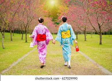 wearing pretty kimono japan girls walking together hand in hand on the cherry tree garden enjoying view the blooming pink flowers in the summer afternoon time.