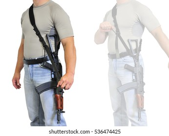 The wearing of weapons: a man's torso with a tactical shoulder strap for long-barreled gun. Face hidden