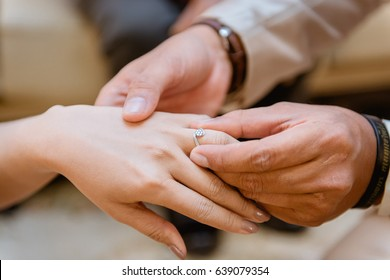 Wearing Wedding Ring Ceremony Stock Photo Royalty Free 639079321