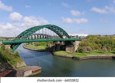 Wearmouth bridges in Sunderland looking toward the Stadium of Light.
