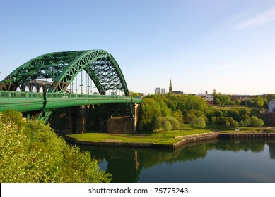 Wearmouth Bridges in Sunderland looking toward the Stadium of Light. Site of former shipyards, now used for urban development. Horizontal stock photo.