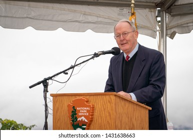 Wears Valley, TN / USA - 11-10-2018: Senator Lamar Alexander has a goofy look on his face at the dedication of the Foothills Parkway in the Great Smoky Mountains.