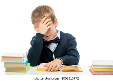 weary sleepy schoolboy reading lessons, portrait isolated