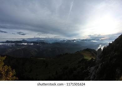 Weather change seen from the Tegernseer Hütte in Bavaria, Germany with the Zugspitze in the background