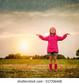 weather changes little girl in the field