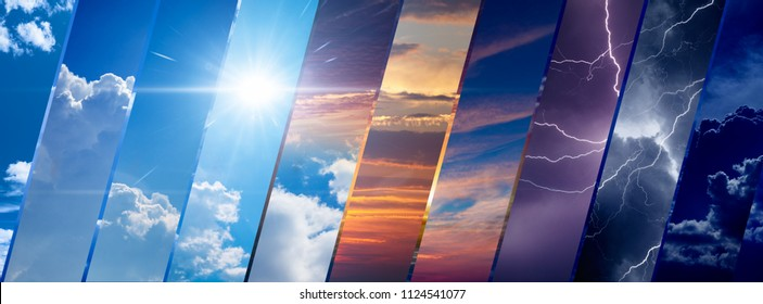 Weather forecast background, climate change concept, collage of sky image with variety weather conditions - bright sun and blue sky, dark stormy sky with lightnings, sunset and night