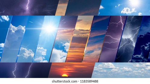Weather forecast background, climate change concept, collage of sky photos with variety weather conditions - bright sun and blue sky, dark stormy sky with lightnings, sunset and night