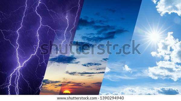 Concept de prévision météorologique, arrière-plan changement climatique, collage d'image du ciel avec des conditions météorologiques variées - soleil clair et ciel bleu, ciel sombre et orageux avec lumières, coucher du soleil scintillant
