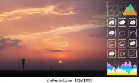 Weather forecast symbol data for meteorology presentation with graph and chart on dramatic atmosphere panorama view of colorful twilight tropical sky and  clouds aerial summer view background. - Shutterstock ID 1826213033