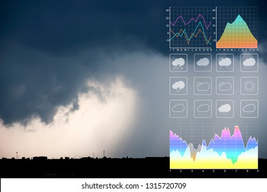 Weather forecast symbol data presentation with graph and chart on tropical storm background.Dramatic atmosphere panorama view of storm clouds and heavy rain storm on twilight tropical sky.