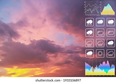 Weather forecast symbol data presentation with graph and chart on dramatic atmosphere panorama view of colorful twilight tropical sky for meteorology presentation and report background - Shutterstock ID 1933106897