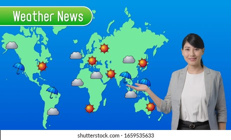 Weather forecast of a TV show. Newscaster. weather forecaster.