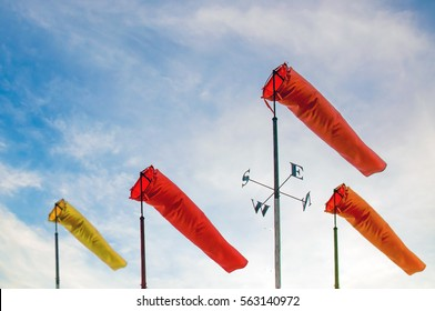 weather forecast. wind sock in the  blue sky