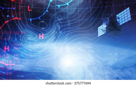 Weather map in Space and Satellite