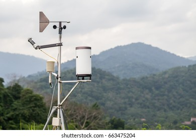 Weather meter with mountain background
