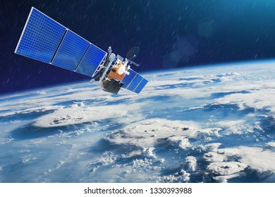 Weather satellite for observing powerful thunderstorms of storms and tornadoes in space orbiting the earth. Elements of this image furnished by NASA.