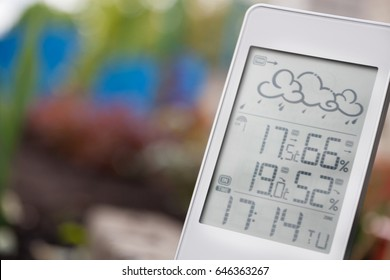Weather station device with weather conditions inside and outside