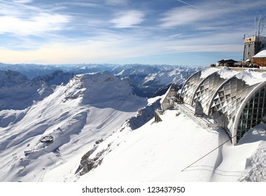weather station at European Alps seen from the highest German mountain Zugspitze