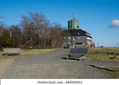 Weather station at the german Rothaargebirge with a bench